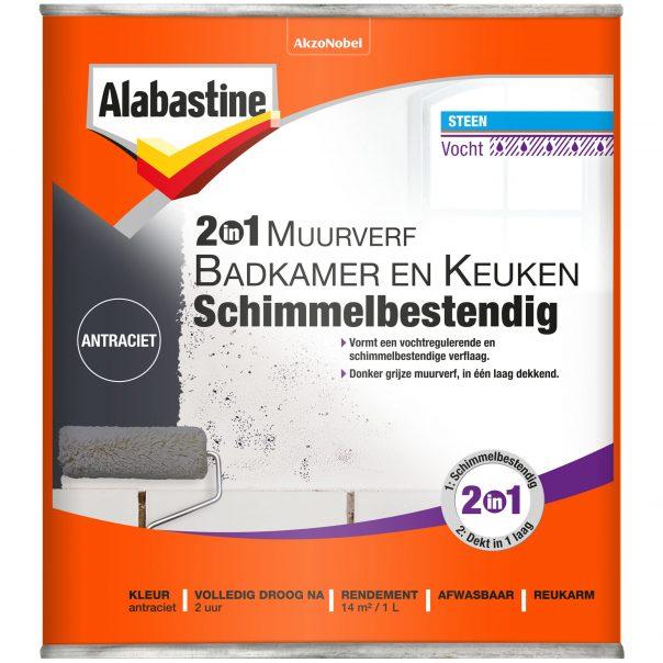 Geliefde 2in1 Muurverf Badkamer en Keuken Schimmelbestendig - Alabastine PY74