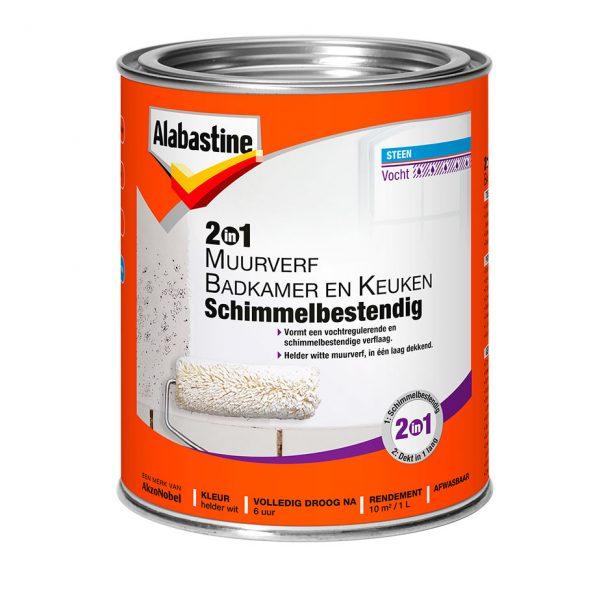 2in1 Muurverf Badkamer en Keuken Schimmelbestendig - Alabastine