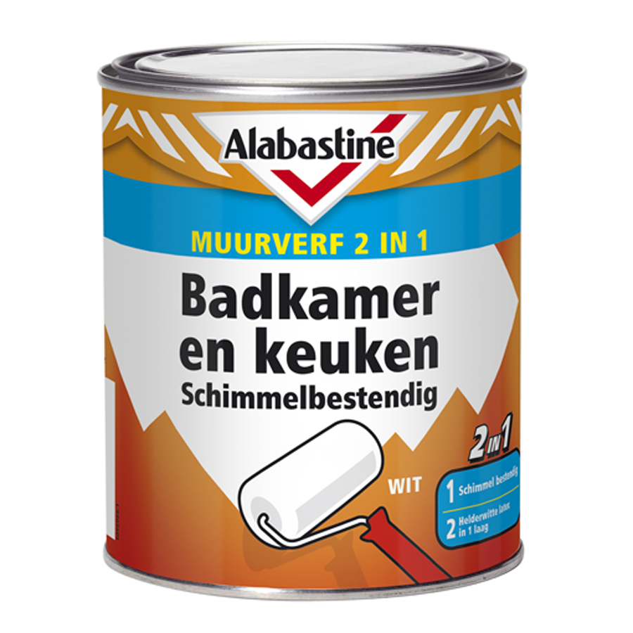 Houten Wastafel Badkamer ~ 2in1 Muurverf Badkamer en Keuken Schimmelbestendig  Alabastine